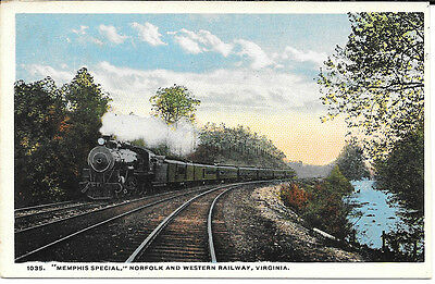 Virginia Train Postcard: Memphis Special Norfold & Western Railway Va