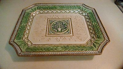 """Fitz and Floyd Gregorian Large Platter Green and Gold 16"""""""
