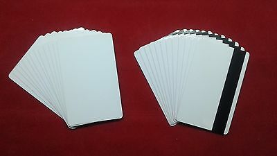 50 Blank White PVC Card CR80 30 mil 3 Tracks Hico Magnetic Stripe thermal print