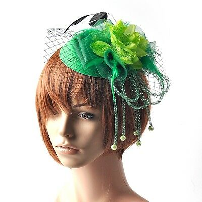 Green Women Fascinators Feather Flower Bead Hair Clip Hat Veil Bridal Party Gift