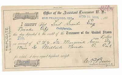 Rare Mining History Treasurer Us Deposit Form Fred Searls Maguerite Cons Mine Ca