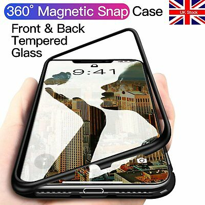 12H Tempered Glass Magnetic Snap Case for iPhone X XR XS Max 8 7 6S 6 Plus Thin