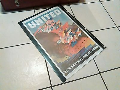 Vintage WW 11 Retro UNITED NATIONS Fight for Freedom Poster Superb Condition
