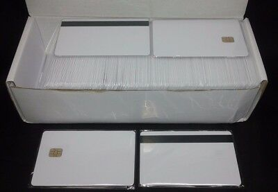 SLE 4442 Small Chip  White PVC Smart Card  HiCo 8.4 mm 100 Pack Usa Shipping