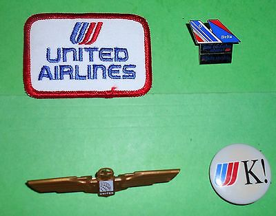 United Air France Airlines Tail Fin Pin Hat Cap Patch Jr Pilot Wings Button Lot