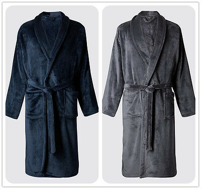 Luxury Mens NAVY Charcoal Thermal Coral Fleece Dressing Gowns soft Bath Robe