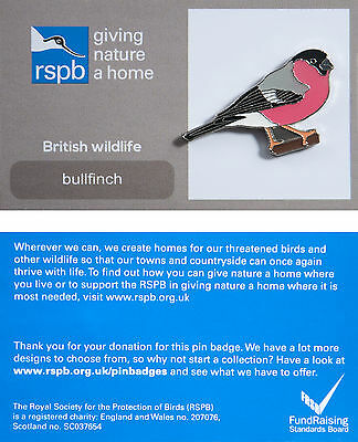 RSPB Pin Badge | Bullfinch | GNaH backing card [00871]