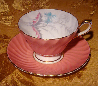 Aynsley Swirled Pink Tea Cup & Saucer Footed Floral Gold Trim C1470