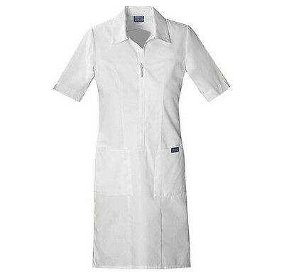 "Cherokee Style 4501 Uniform Zipper Front WHITE Nurse's Dress 39"" XS-3XL"