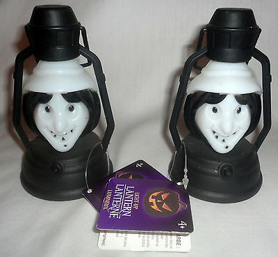 2 Halloween Witch Lanterns Vintage Style Battery Operated Color Changing
