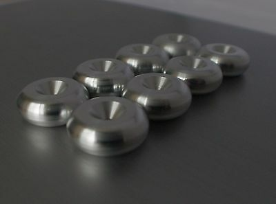 - British made - CNC aluminium Speaker spike pads shoes feet 20mm DIA - SeT of 8