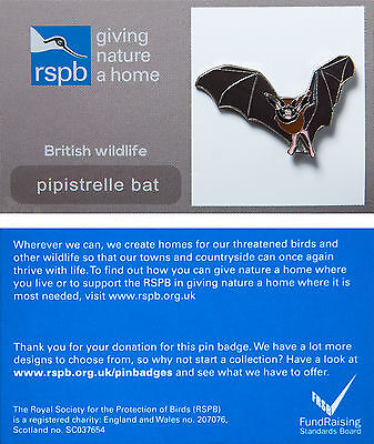 RSPB Pin Badge | Pipistrelle Bat | GNaH backing card [00421]