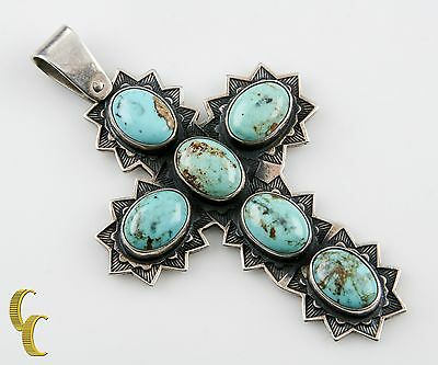 Jose Frederico Sterling Silver 925 Native American Cabachon Turquoise Cross