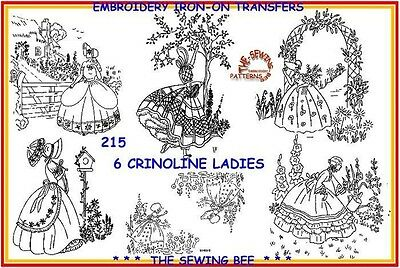 215 - 6  Crinoline lady embroidery  IRON-ON transfers patterns