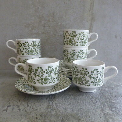 6  Broadhurst Clare Tea Cups Saucers Staffordshire England Ironstone Green