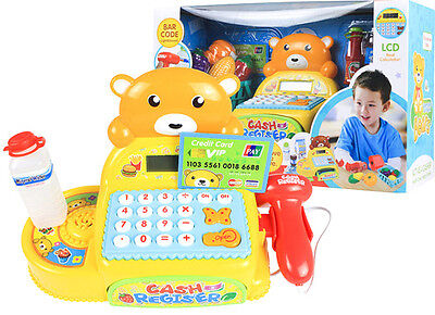 Teddy Bear Cash Register - Barcode Reader, LCD Display, Basket