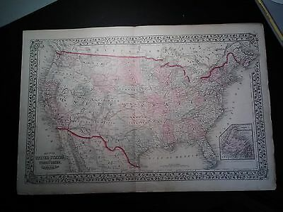 Original Mitchell's 1867 Map Of The United States and Territories