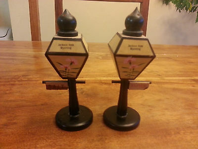 Vintage Salt and Pepper Shakers 1960s Jackson Hole Wyoming Wooden Lamp Posts