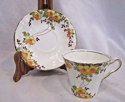Royal Adderley Yellow and Orange flower  #131  Bone China Tea Cup And Saucer