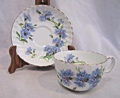 Royal Adderley Blue Cornflower Bone China Numbered Tea Cup and Saucer #H487