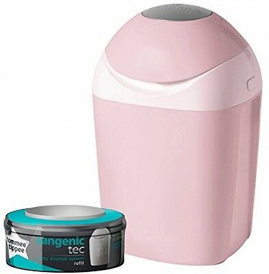 Tommee Tippee Sangenic Tec Baby Nappy Disposal Starter Pack Pink Bin + 1 Casette