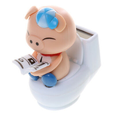 Solar Powered Flip Flap Bobble Head Toy Pig On Toilet Home Car Dancer - Blue