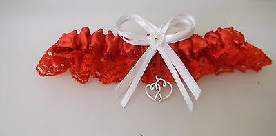 Wedding Ceremony Bridal Party Valentine Red Bride's Satin Double Hearts Garter