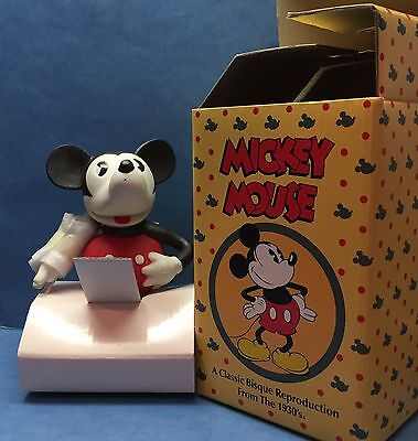Disney 1930s Bisque Mickey Mouse Repro Toothbrush Holder w movable arm MIB