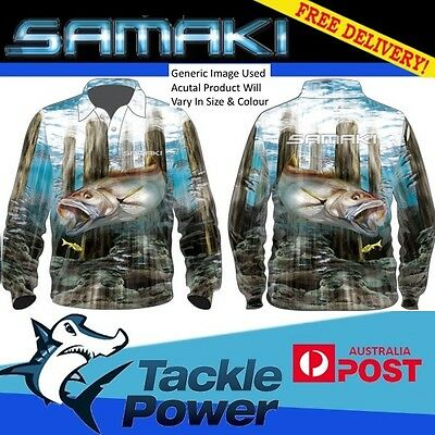 Samaki Fishing Shirt Long Sleeve Mulloway - Adult and Child Sizes - Brand New!