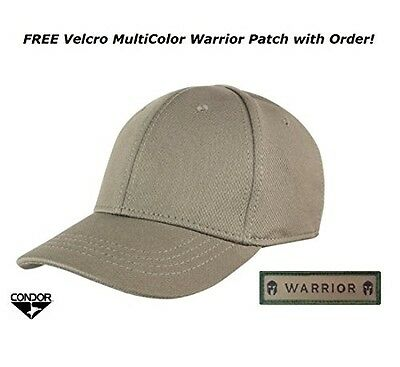 Condor Flex Tactical Team Cap (Tan) + FREE Warrior Patch, Fitted Plain /  Blank