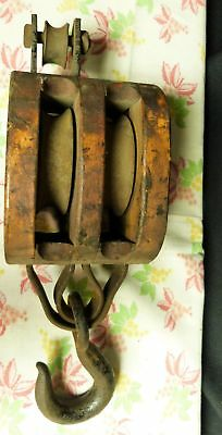 Vintage WINDING Primitive Double Wood & Iron Block & Tackle Pulley
