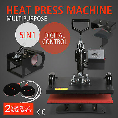 DIGITAL HEAT PRESS MACHINE T-SHIRT TRANSFER SUBLIMATION VINYL PRINTING 5in1