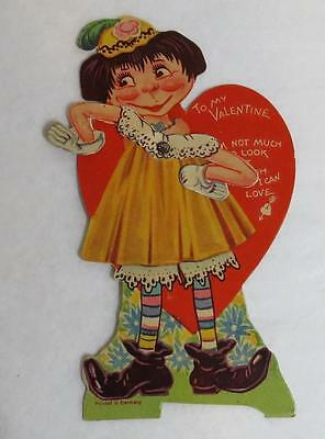 Vintage Antique Mechanical Valentine Card HOMELY Pitiful Pearl Girl - Germany