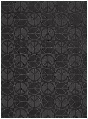 Garland Rug Large Peace Area Rug, 5-Feet by 7-Feet, Black