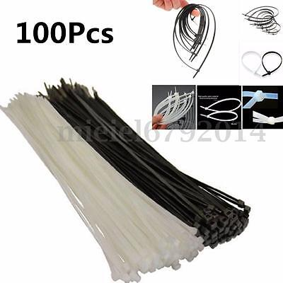 100Pcs Black White Natural Nylon Cable Ties/Tie Wraps Zip Ties Various Sizes