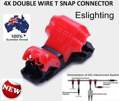 4X 12V T Piece Twin Wire Cable Easy Snap Connectors Terminal Joiner Solderless