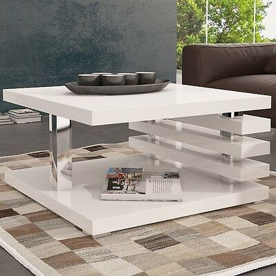 White Small Coffee Table Living Room Furniture Modern Square Storage Wooden Side