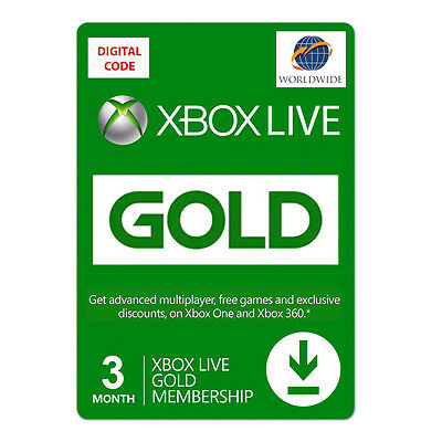 Xbox LIVE Prepaid 3 Month Gold Subscription UPC S2T 00006