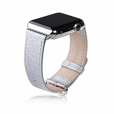 Apple Watch Band Silver 38mm Genuine Leather Strap Wrist Band Replacement