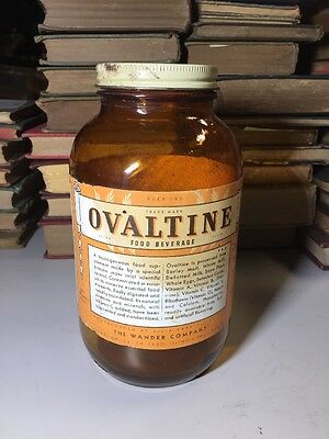 OVALTINE JAR 1940's Capt Midnight radio show premium drink mix 14oz Large Size