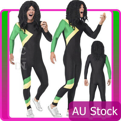 Mens Jamaican Rasta Hero Jumpsuit Costume Bobsleigh Bobsled Team Sports Adult