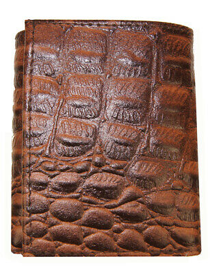 Crocodile Embossed Credit Card ID Cowhide Leather Men's Brown Trifold Wallet new
