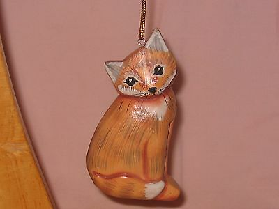 Wooden Carved Kitty Cat Ornament