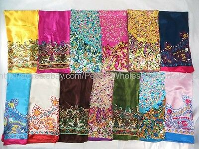 "US Seller-5pcs boho paisley 36"" satin large square scarf Women Fashion"