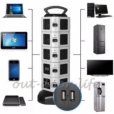 18 Outlets 4 USB Power Strip Vertical Tower Socket Smart Charger Surge Protect