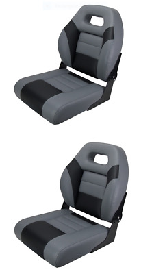 Boat Seat Sports Fold Down Black Carbon Grey Relaxn X 2 seats With Free Covers
