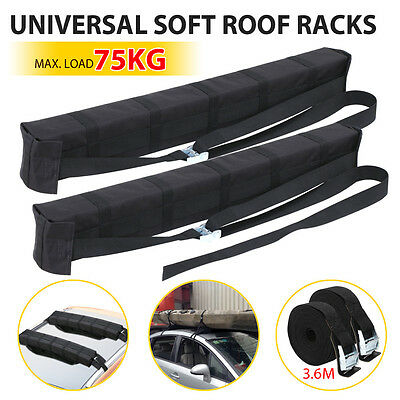 2 x Car Roof Soft Racks Top Luggage Carrier Surf Kayak Surfboard Canoe Ski SUP