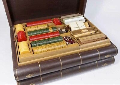Antique Deluxe Traveling Game Set Shaped as Rare Books, Poker, Chess, Dominos