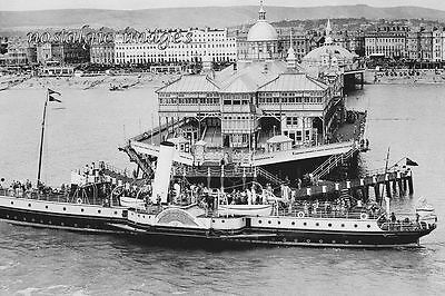 Photo Taken From A 1936 Postcard Of Paddle Steamer At Eastbourne Pier