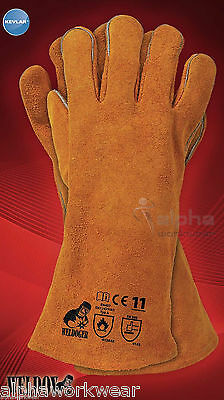 WELDING LEATHER GLOVES GAUNTLETS WELDERS KEVLAR HEAT RESISTANT STITCHES. 1 pair